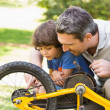 Stock Photo: Father and son fixing bike