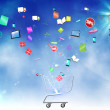Stock Photo: Floating application icons with trolley