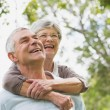Senior womembracing mfrom behind — Stock Photo #39193997