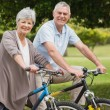 Senior couple on cycle ride in countryside — Stock Photo #39194653