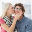 Stock Photo: Womkissing mon his cheek