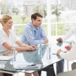 Smiling business people talking during meeting — Stock Photo #39195659
