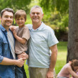 Grandfather, father and son with family in background at park — Stock Photo