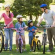 Family of four with bicycles in park — Stock Photo