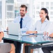 Stock Photo: Recruiters checking candidate during job interview