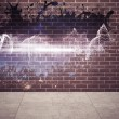 Splash on wall revealing energy wave — Stock Photo #39199295