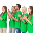 Stock Photo: People in recycling symbol t-shirts clapping hands