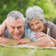 Smiling relaxed senior couple lying in park — Stock Photo #39199521