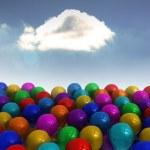 Many colourful balloons sky background — Stock Photo