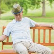 Stock Photo: Relaxed senior mon bench at park