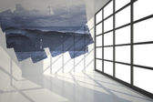 Abstract screen in room showing mountains — Stock Photo