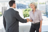 Side view of two executives shaking hands — Stock Photo