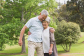 Happy senior couple embracing in park — Stock Photo
