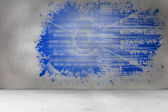 Splash on wall revealing technology interface — Zdjęcie stockowe