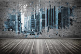 Splash on wall revealing city — Stock fotografie