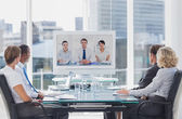 Business team having video conference — Stockfoto