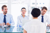 Recruiters checking the candidate during a job interview — Stock Photo