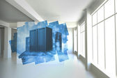 Abstract screen in room showing server towers — Stock Photo