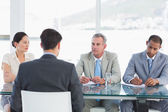 Recruiters checking the candidate during job interview — Stock Photo