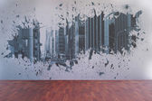 Splash on wall revealing city view — Stock Photo