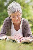старший женщина с книгой в парке — Стоковое фото