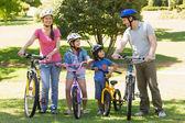 Family of four with bicycles in park — Zdjęcie stockowe