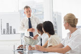 Business manager talking to staff during meeting — Stock Photo