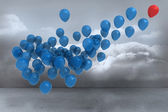 Many colourful balloons in cloudy room — Foto de Stock