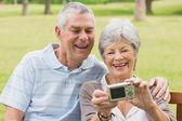 Cheerful senior couple photographing themselves at park — Stock Photo