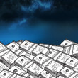 Stock Photo: Dollar bills under starry sky