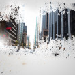 Foto de Stock  : Splash on wall revealing cityscape
