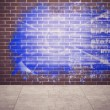 Foto de Stock  : Splash on wall revealing technology interface