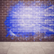 Stockfoto: Splash on wall revealing technology interface