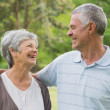 Happy senior couple with arms around at park — Stock Photo