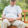 Stock Photo: Senior msleeping on bench at park