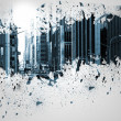 Splash on wall revealing cityscape — Stockfoto #39201951