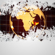Splash on wall revealing earth graphic — Stockfoto #39202289