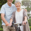Senior couple on cycle ride at the park — Stock Photo #39202419