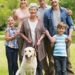 Extended family with their pet dog at park — Stock Photo #39202631