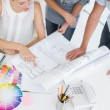 Mid section of artists working on designs — Stock Photo