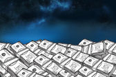 Dollar bills under starry sky — Stock Photo