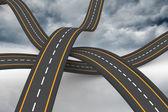 Bumpy roads crossing backdrop — Stock Photo