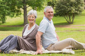Portrait of a senior couple sitting at park — Stock Photo