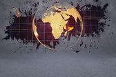 Splash on wall revealing global technology graphic — Stock Photo