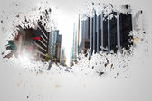 Splash on wall revealing cityscape — Stockfoto