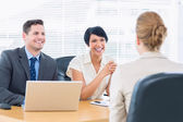 Recruiters checking the candidate during job interview — Stockfoto
