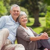 Smiling senior couple sitting at park — Stock Photo