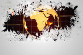 Splash on wall revealing earth graphic — Stock Photo