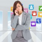 Composite image of thinking upset businesswoman — Stock Photo