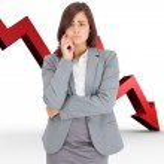 Composite image of upset thinking businesswoman — Stock Photo